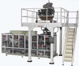 SVMC-1/SDFQ Stiavelli Carousel for Brick Bags Integrated With High Speed VFFS Vertical Form Fill Seal Machine